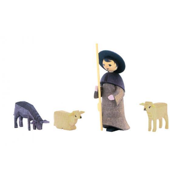 Ulmik - Hirte mit 3 Schafen gebeizt