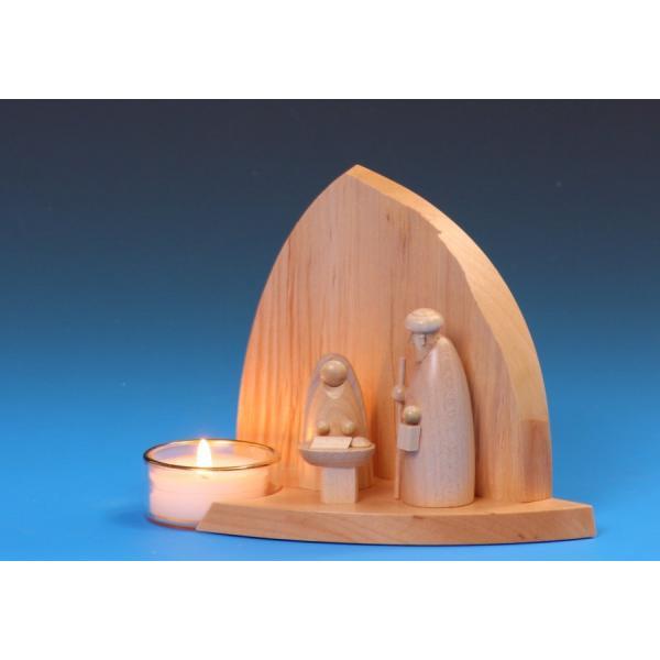 Schalling - Leuchter Felsenkrippe mit Heiliger Familie & Teelicht