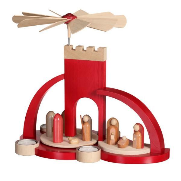 Frank Weber - Bügelpyramide mit Christi Geburt modern, rot,Teelicht