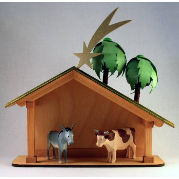 Walter Werner -  Krippenhaus mit Palme, Ochs und Esel