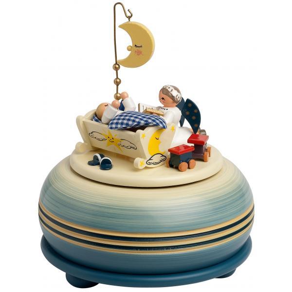 KWO - Spieldose, klein -schlaf mein Kind-, blau