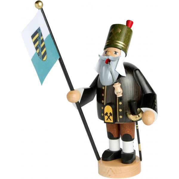 KWO - Räuchermann Bergmann mit Fahne