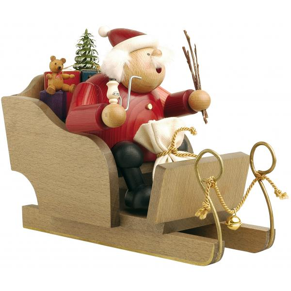 KWO - Räuchermann Weihnachtsmann mit Schlitten
