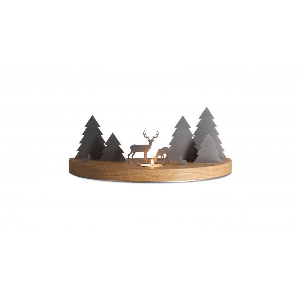 Winterlandschaft mit Teelicht aus Eiche, mittelgroß