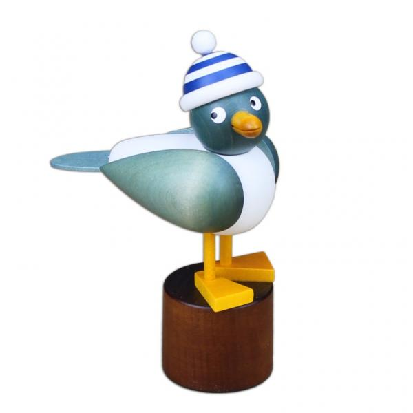 Drechslerei Martin - Möwe hellblau, mit blauer Ringelmütze