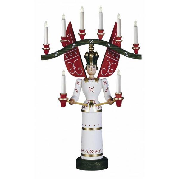 Günter Reichel - Lichterengel mit Joch, lasiert, elektrisch, 70 cm