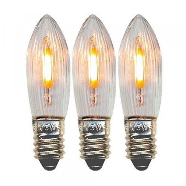 3er Pack - E10 LED Lampe/Spitzkerze für Schwibbögen und Lichterketten