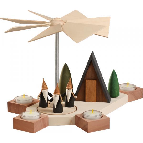 Seiffener Volkskunst eG - Pyramide Octogonum Motiv Bergwichtel, 23cm