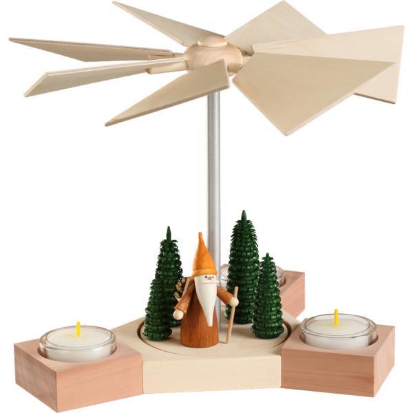 Seiffener Volkskunst eG - Pyramide Hexagonum Motiv Waldarbeiterwichtel, 20cm