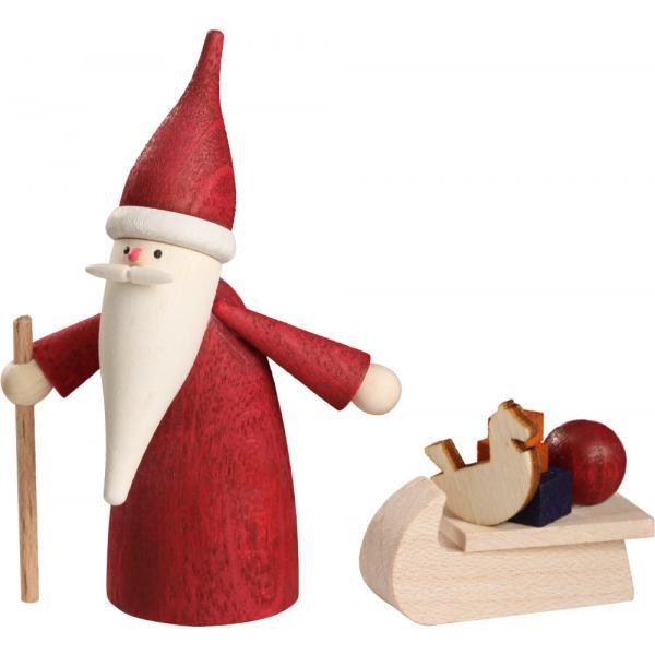 Seiffener Volkskunst eG - Miniaturen Weihnachtswichtel mit Schlitten, 7cm