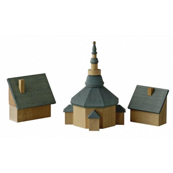 Günter Reichel - Seiffener Kirche mit Häuser