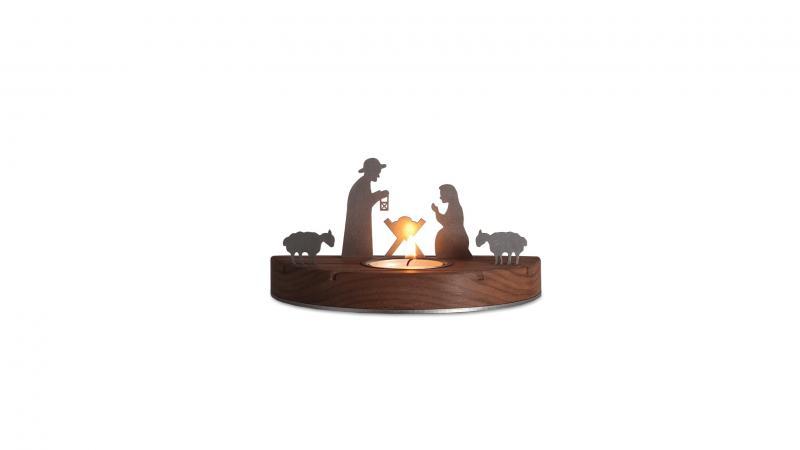 weihnachtskrippe mit teelicht aus nussbaum klein moderne fachgesch ft aus. Black Bedroom Furniture Sets. Home Design Ideas