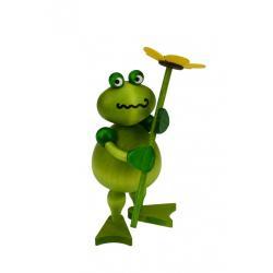Drechslerei Martin - Frosch Freddy mit Blume, gelb