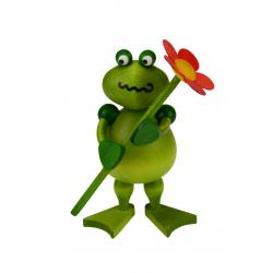 Drechslerei Martin - Frosch Freddy mit Blume, rot