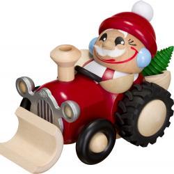 Seiffener Volkskunst eG - Kugel Räuchermann Nikolaus im Traktor