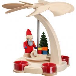 Seiffener Volkskunst eG - Bogenpyramide klein, Weihnachtsmann mit Schlitten