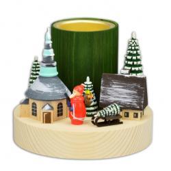 Wolfgang Braun - Teelichtleuchter, Winterdorf Seiffen mit Weihnachtsmann