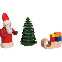Seiffener Volkskunst eG - Weihnachtsmann mit Schlitten, 8 cm