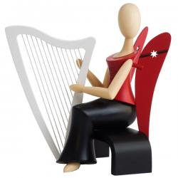 Kollektion Sternkopf - Engel mit Harfe sitzend