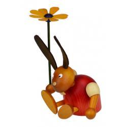 Drechslerei Martin - Hase mit Blume sitzend rot, klein