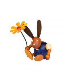 Drechslerei Martin - Hase mit Blume sitzend blau, klein