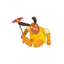 Drechslerei Martin - Hase mit Blume sitzend gelb, klein