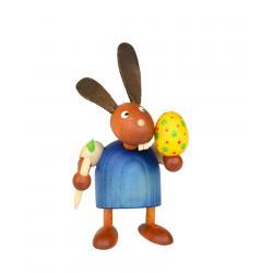 Drechslerei Martin - Hase mit Pinsel und Ei blau, klein