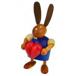 Drechslerei Martin - Hase mit Herz blau, klein