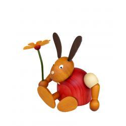 Drechslerei Martin - Hase mit Blume sitzend rot
