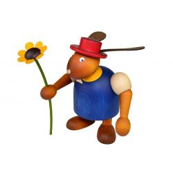 Drechslerei Martin - Hase mit Hut & Blume blau, groß