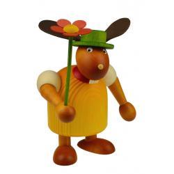Drechslerei Martin - Hase mit Hut & Blume gelb, groß