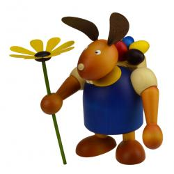 Drechslerei Martin - Hase mit Eikiepe & Blume blau, groß maxi