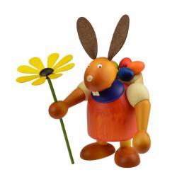 Drechslerei Martin - Hase mit Eikiepe & Blume rot, groß maxi