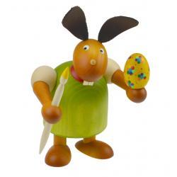 Drechslerei Martin - Hase mit Pinsel & Ei grün, groß