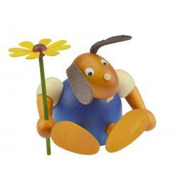 Drechslerei Martin - Hase mit Blume sitzend blau