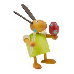 Drechslerei Martin - Hase mit Pinsel und Ei grün, klein