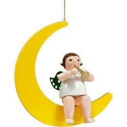 Ellmann - Engel auf Mond mit Trompete, groß 30 cm