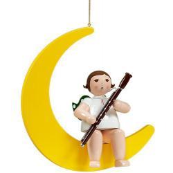 Ellmann - Engel auf Mond mit Fagott, groß 30 cm