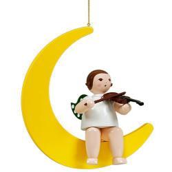 Ellmann - Engel auf Mond mit Geige, groß 30 cm