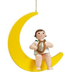 Ellmann - Engel auf Mond mit Harfe, groß 30 cm