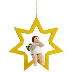 Ellmann - Engel im Stern mit Querflöte, groß 30 cm
