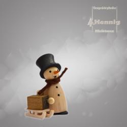 Hennig Figuren - Schneemann mit Schlitten natur