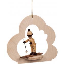 Richard Glässer - Baumbehang Wolke natur, Junge auf Skiern