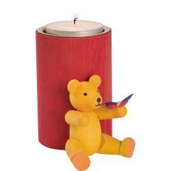 Richard Glässer - Stumpenkerze rot mit Teddy groß gelb mit Schmetterling