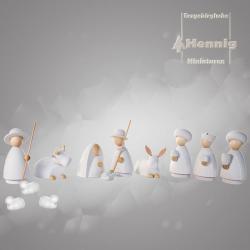 Hennig Figuren - moderne Weihanchtskrippe komplett, groß natur/weiss