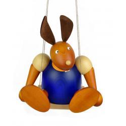 Drechslerei Martin - Hase auf Schaukel blau, groß maxi
