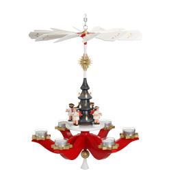 Zeidler - Hängepyramide Engel, Rot, für 6 Teelichter