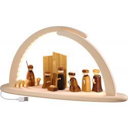 Seiffener Volkskunst eG - LED-Bogen groß, Christi Geburt, inkl. USB Steckernetzteil