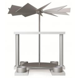 Günter Reichel - Pyramide LUMA, weiß, Tüllen für Kerzen, Farbe: aluminium - natur