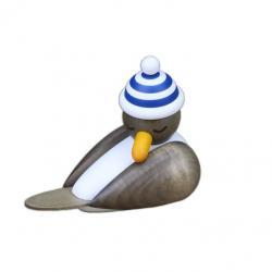 Drechslerei Martin - Möwe grau schlafend, mit blauer Ringelmütze
